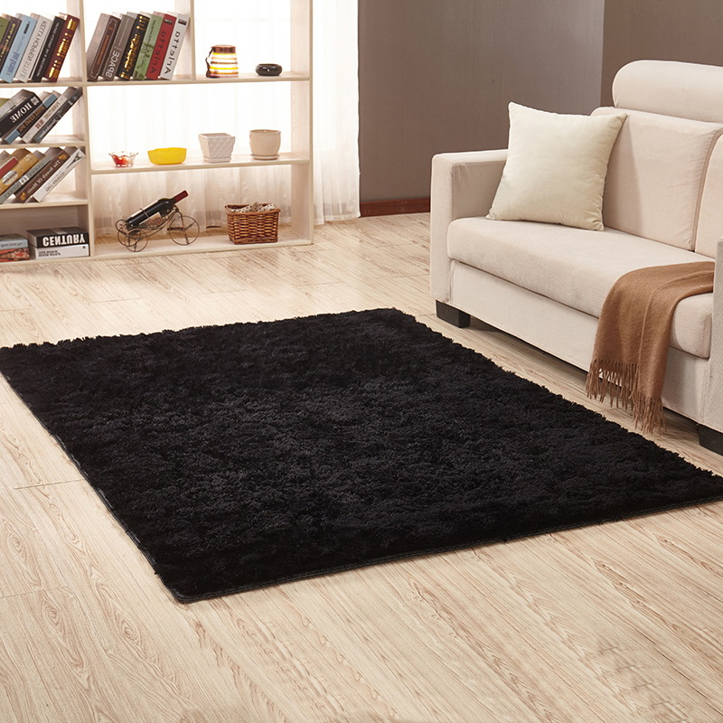 Living Room Carpet European Fluffy Mat Kids Room Bedroom Mat Antiskid Soft Faux Fur Area Rug Rectangle Black Red 100*160cm