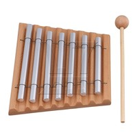 Yibuy 7 Aluminum Tube Woodstock Percussion Instrument 7 Tone Chime With Mallet