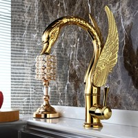 Luxury gold brass bathroom sink faucet Swan Art cold and hot water basin faucet Top quality golden tap