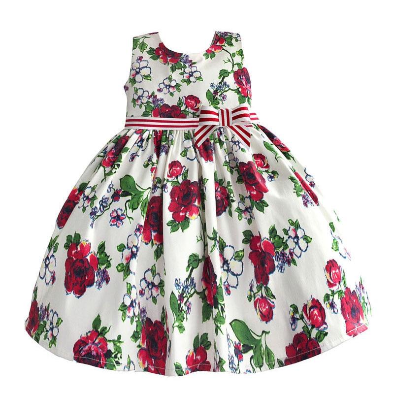 Rose Floral Girl Party Dress with Striped Satin Bow Dress Girl Print Princess Cotton Kids Dresses vestido infantil 1-6T mccarthy t satin island