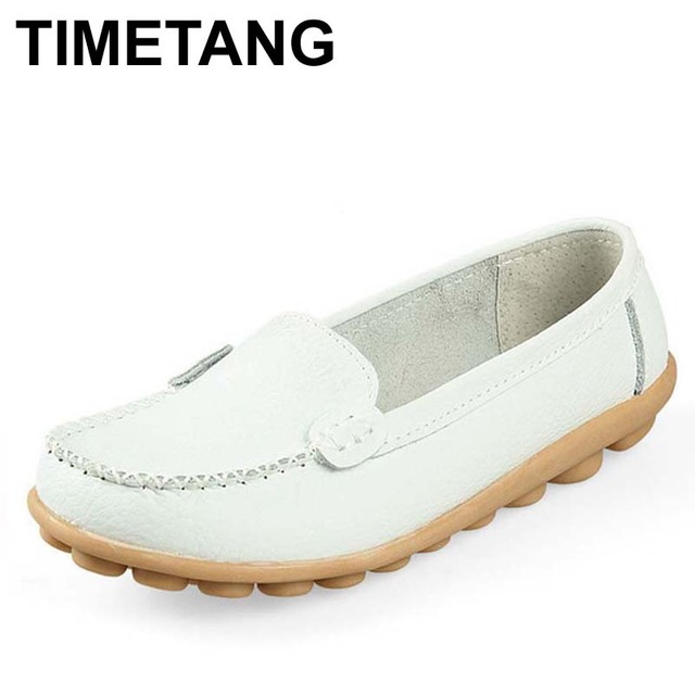TIMETANG New 2017 Women genuine Leather Shoes Slip-on Ballet women Flats Comfort shoes woman moccasins sapatilhas femininos
