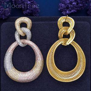 Image 3 - MoonTree Three Round Shape Dangle Full Micro Cubic 3Tone Color Copper Women Wedding Engagement Dress Big Earrings Bijoux