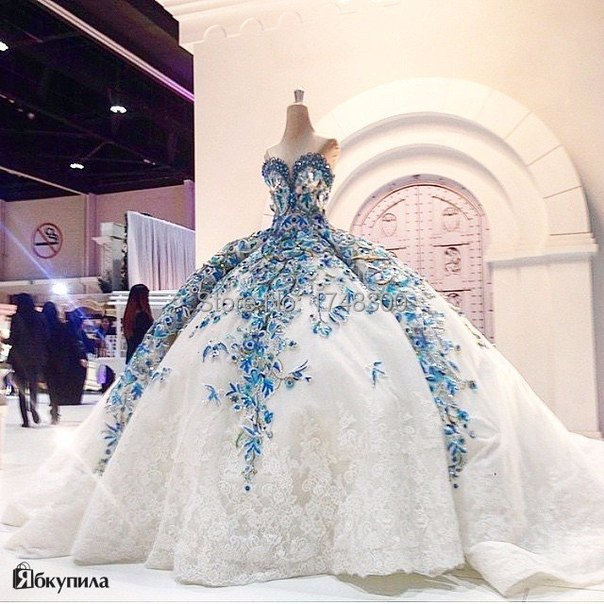 Romantic Big Ball Gown Wedding Dress Luxurious Blue Bride Dress ...