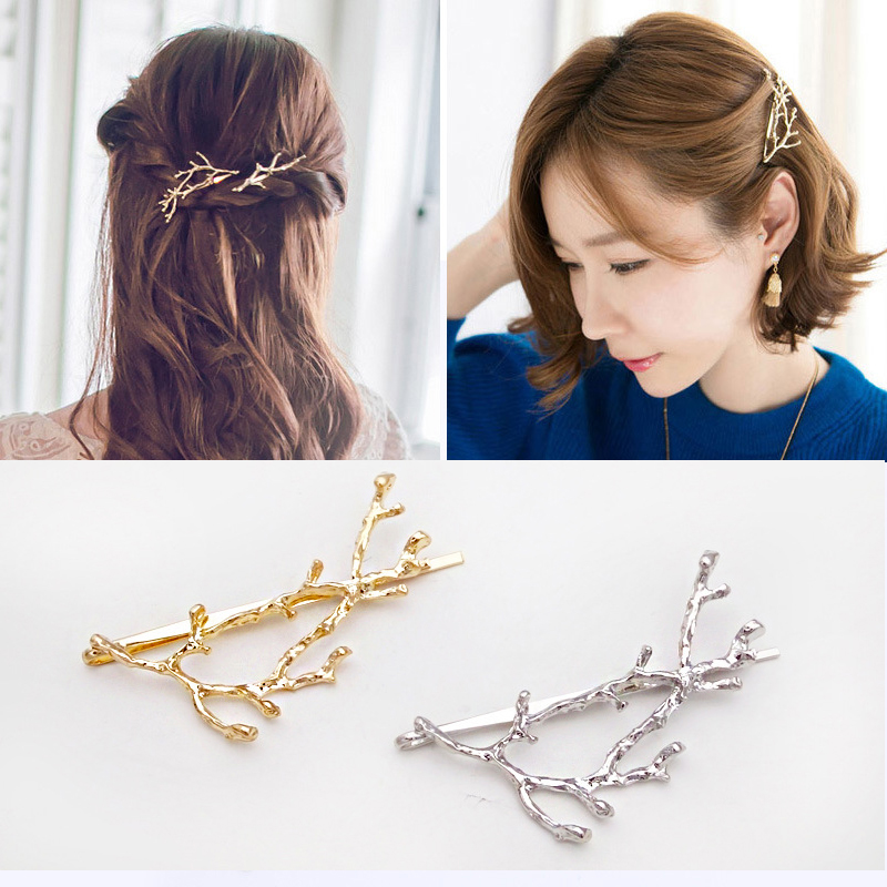Vintage Metal Tree Hairpins Hair Clips Branch Elegant Girls Barrettes Women Fashion Hairgrips   Headwear   Alloy Hair Accessories