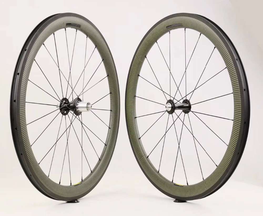 Top wheel carbon yellow Kevlar wheels 700C 30mm 35mm 45mm 50mm clincher tubeless road font b