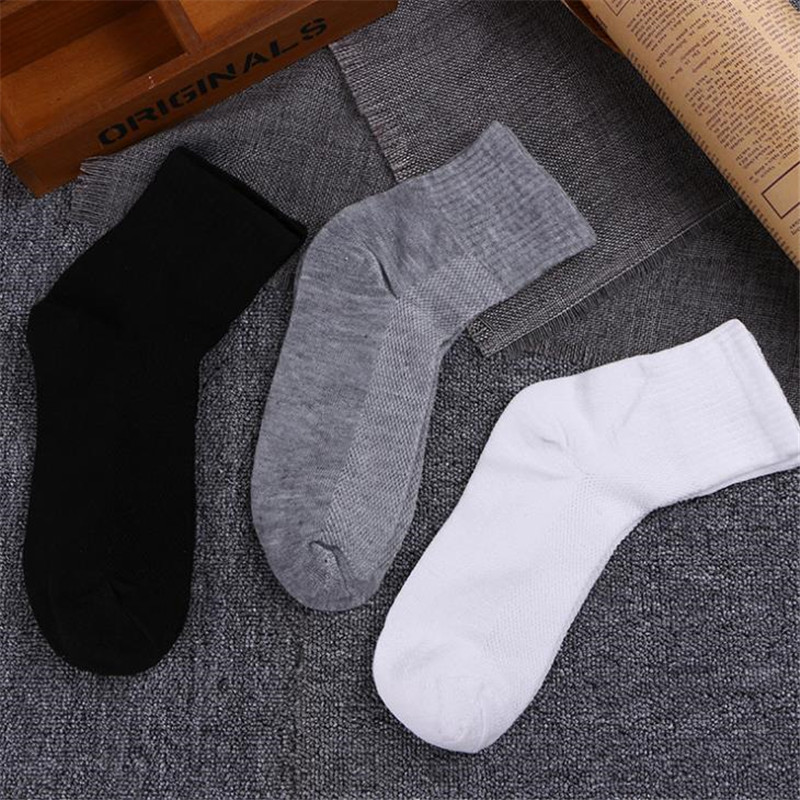 10pcs=5pairs men cotton socks spring summer male Ankle socks Breathable fashion casual men's socks white black gray Dropshipping
