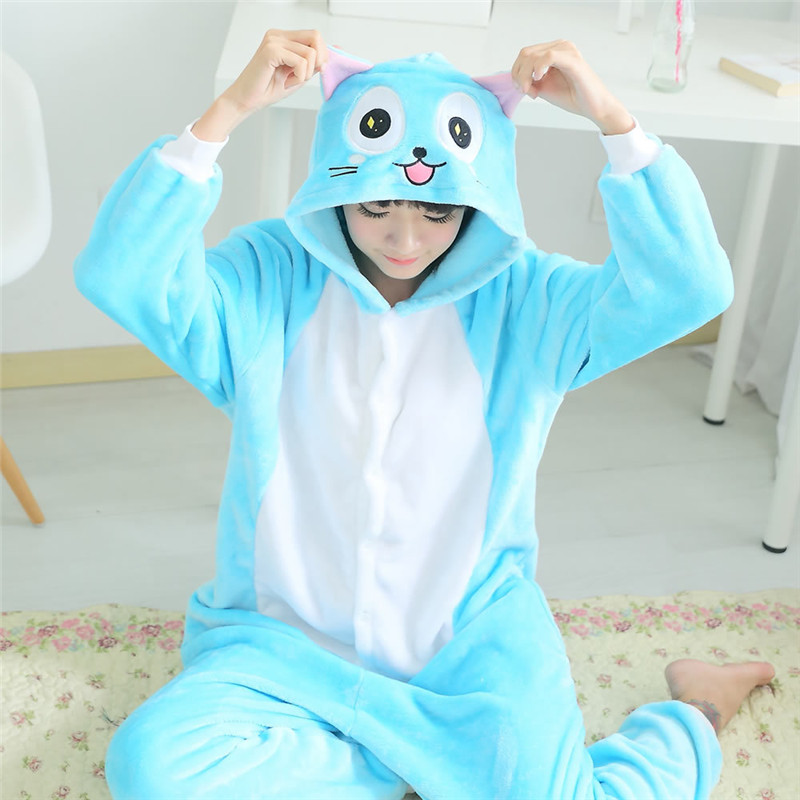 Flannel Adult Cartoon Animal Anime Fairy Tail Happy Cat Kigurumi Pajama Lovely Robe Cosplay Lovers Costume