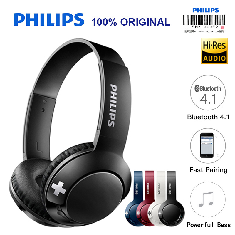 Philips Bluetooth Headset Earphone Wireless Headphones SHB3075 Volume with Microphone Control for Iphone X Galaxy Note 8 new k6 bluetooth headset earphone voice command auto answers for iphone android busiess bluetooth headphones with storage box