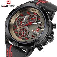 NAVIFORCE relojes deportivos de cuero para hombre, reloj de pulsera militar, con fecha y cuarzo, Masculino