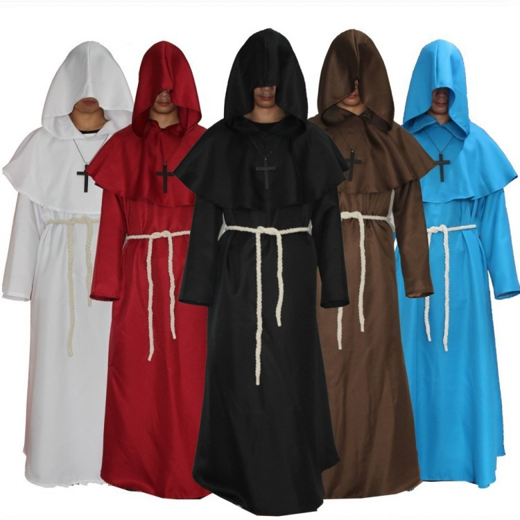 Middle Ages Renaissance Adults cosplay costume Monks pastor Robe exorcism Friar Halloween party unisex Cloak Cape Gown