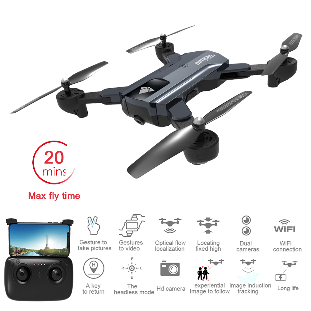 F196 Foldable RC Drone with 2MP HD Camera Optical Flow Localization 20mins Flight Time Mini RC