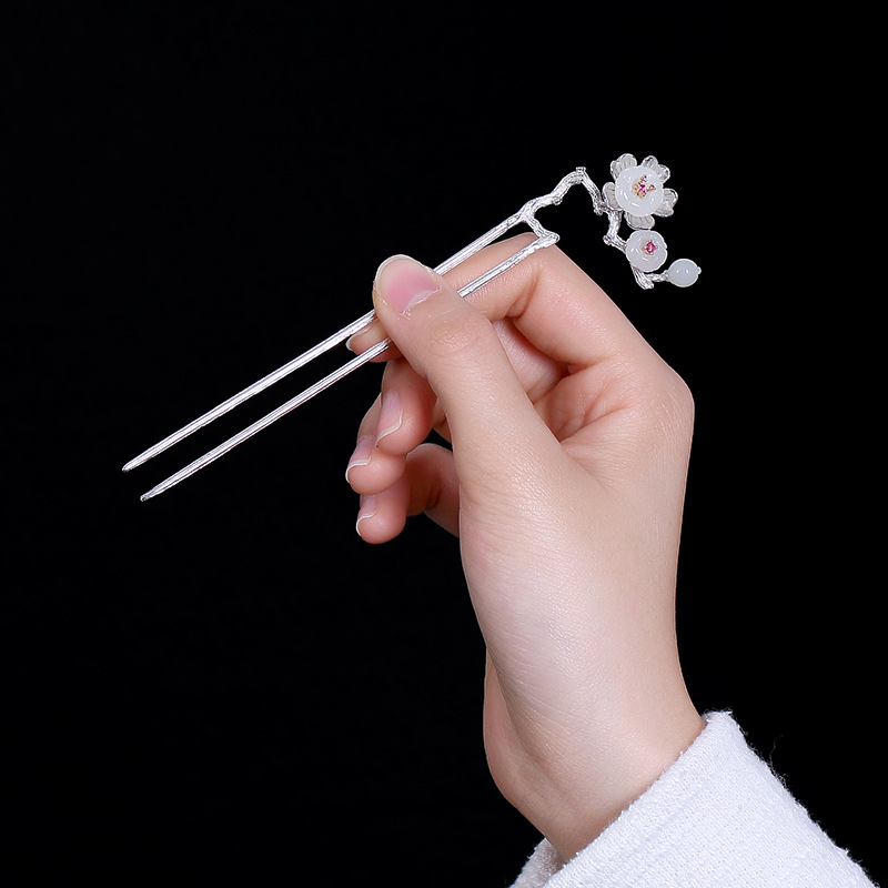 LouLeur 925 sterling silver jade Hair Sticks hairwear silver handmade natural white jade plum blossom flower hairwear for women natural dry flower nail decoration 60pcs mix 12 color daisy babysbreath plum blossom flower manicure accessories