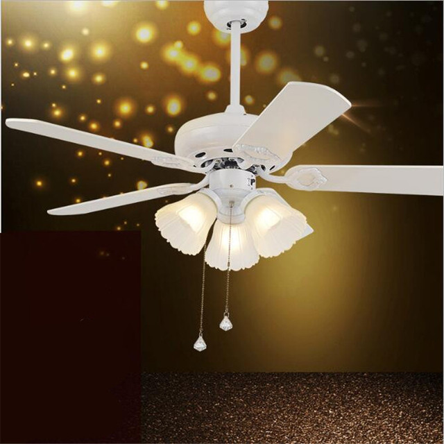 42 European Clical White Wood Leaf Led E27 Ceiling Fan Light For Dining Room Living
