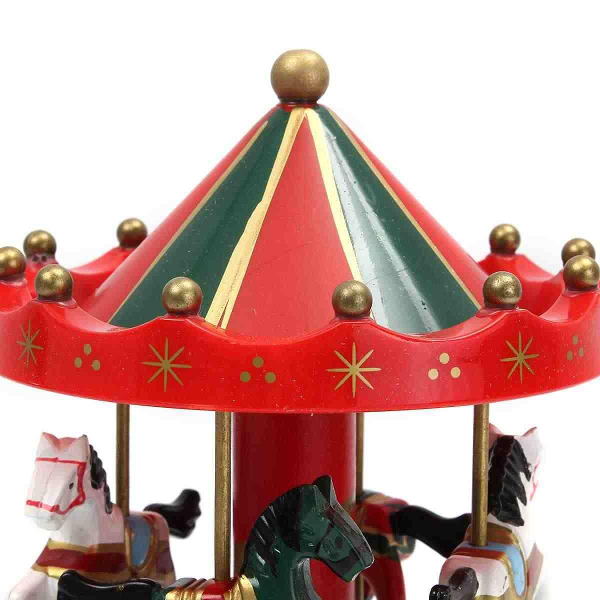 خشبية صندوق موسيقي دوار الحصان خرط جولة كاروسيل الكلاسيكية الموسيقية حالة موضوع الاطفال الأطفال غرفة ديكور اللعب الحالية
