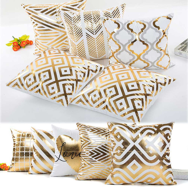 Merry Christmas Bronzing Decorative Pillows Cover Top Quality Geometric Throw Pillow Case 45cmx45cm For Sofa Seat