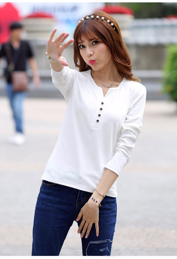 2016 New Plus Size 4XL Tops Women Spring Autumn Tshirt Casual Tees Fashion V Neck Long Sleeve Cotton T Shirts Solid Blusas A519 e