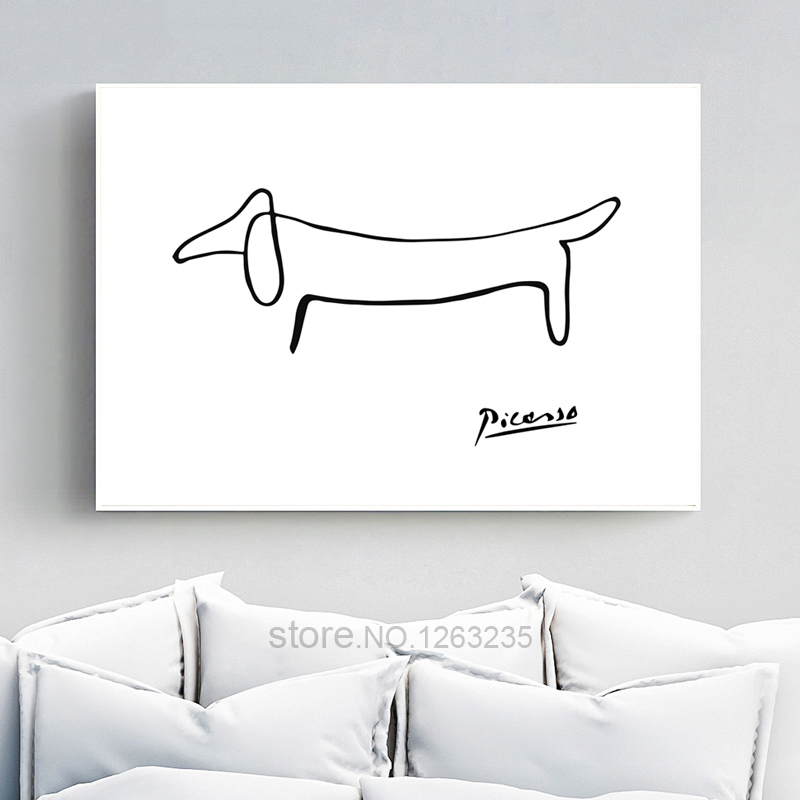 Picasso Abstract One Stroke Nordic Poster Wall Art Posters Picture Dog Canvas Painting Bedroom Home Decor Living Room Unframed