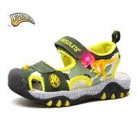 Dinoskulls 2019 Boys Sandals Children Sandal Kids Slides Shoes Dinosaur Kids Sandals Light Up Led Summer Shoes Beach Sandals