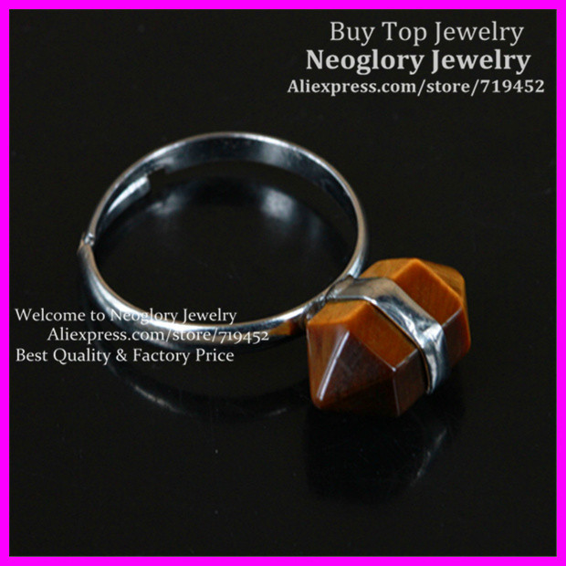 10PCS Nature Gems Glass Druzy Ring,Tiger Eyes Hexagon Point Bead Ring Nugget Adjustable Silver Ring Jewelry