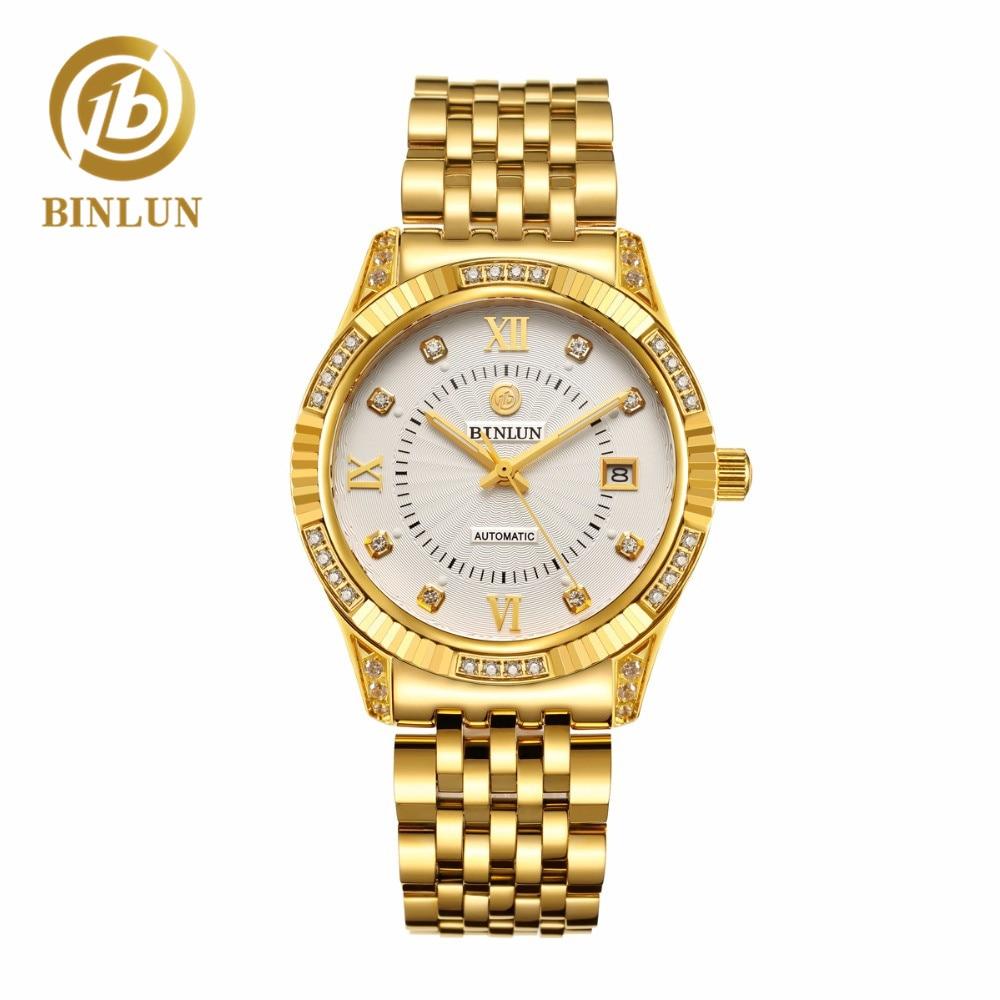 BINLUN 18 K Oro Hombres Top Marca de Lujo Reloj Automático Diamantes - Relojes para hombres
