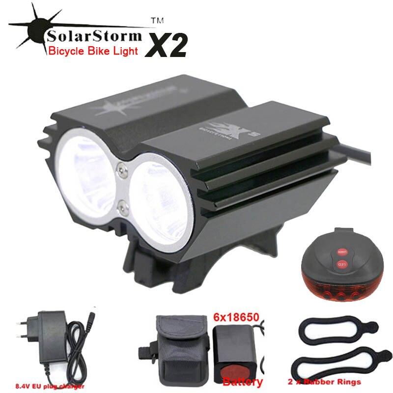 SolarStorm X2 Éclairage Vélo 2xXML T6 Led avant de Vélo lanterna lumière Avec 4x18650 Batterie Pack Chargeur feu arrière en option dans Vélo lumière de Sports et loisirs