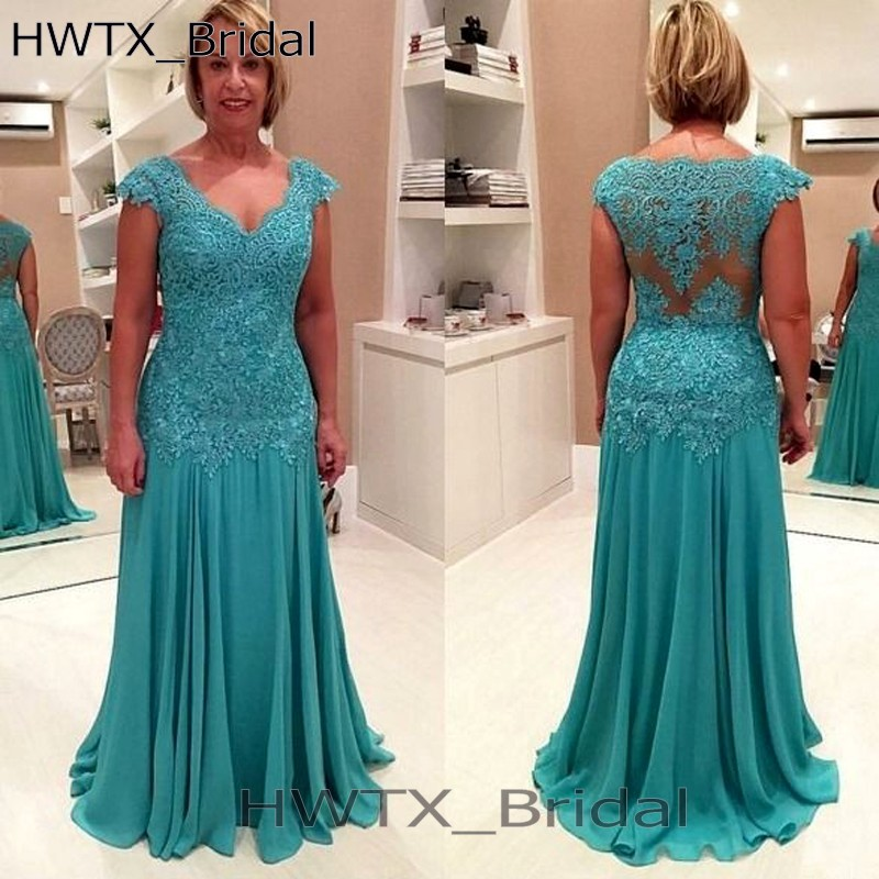 Plus Size Elegant Mother Of Bride Dresses For Weddings Vintage Lace Chiffon V Neck Long 2018 Prom Dress Evening Formal Gowns