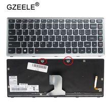 "GZEELE ארה""ב מקלדת מחשב נייד עבור IBM Lenovo IdeaPad Z400 Z400A Z400T סדרת מחשב נייד מקלדת עם תאורה אחורית כסף צבע אנגלית"