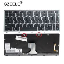 GZEELE US Laptop keyboard for IBM for Lenovo IdeaPad Z400 Z400A Z400T series laptop Keyboard with backlit silver color English