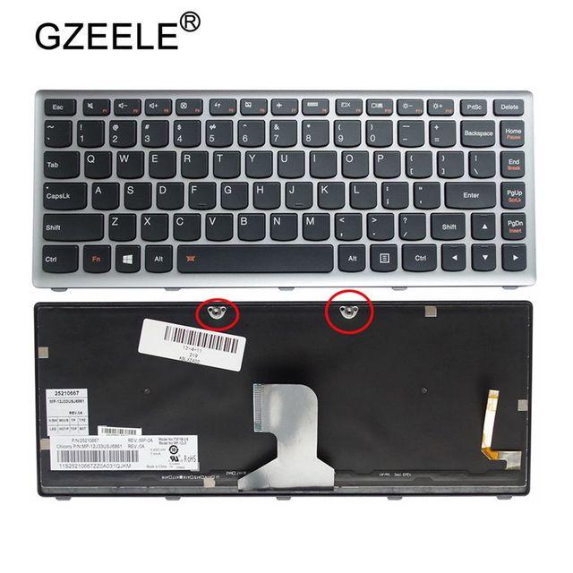 Gzeele eua teclado portátil para ibm para lenovo ideapad z400 z400a z400t série teclado do portátil com retroiluminado cor prata inglês