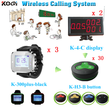 2 display screen receiver + 3 watch pager + 30 coaster button transmitter CE certification restaurant call button system