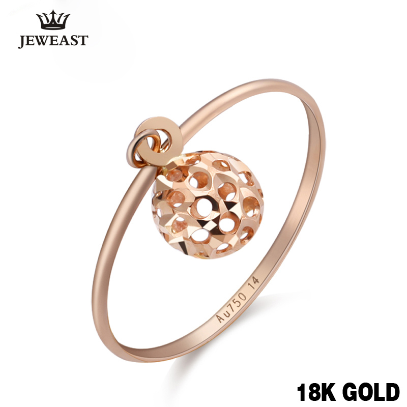 18k Gold Ring For Women Hollow Charm Fine Jewelry Genuine Pure Real 750 Delicate Gift Female Gold Rings Party Trendy Ball New punk style pure color hollow out ring for women