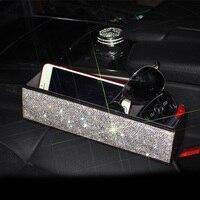 Top Leather Crystal Car Seat Crevice Storage Box Multi Purpose Auto Gap Organizers Pocket Car Seat