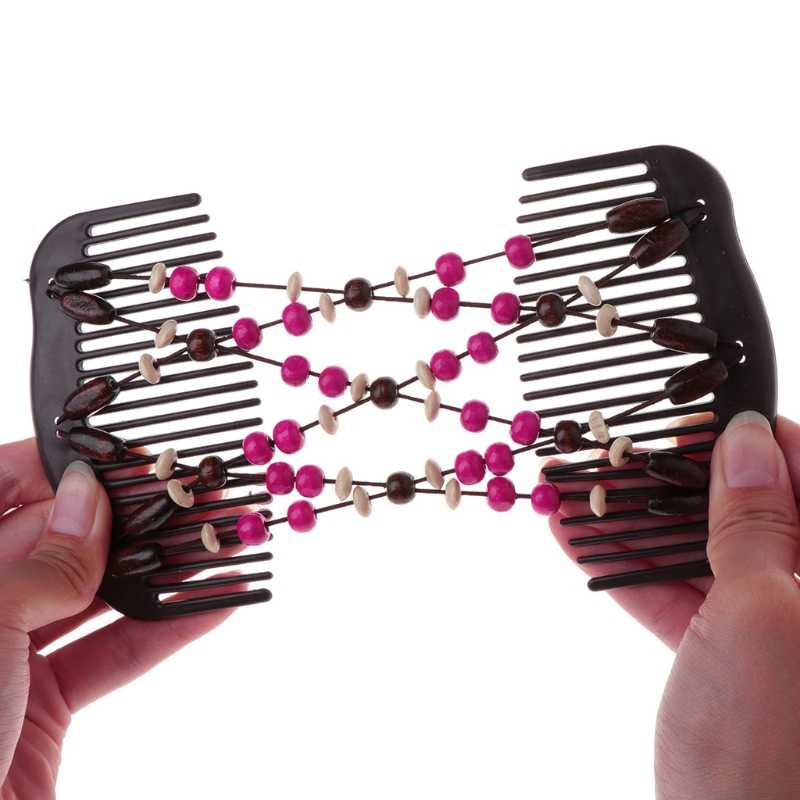 Novo Design de Madeira Pente Mágico Do Cabelo Talão Duplo Estiramento Jóias Mulheres Clipe Penteado