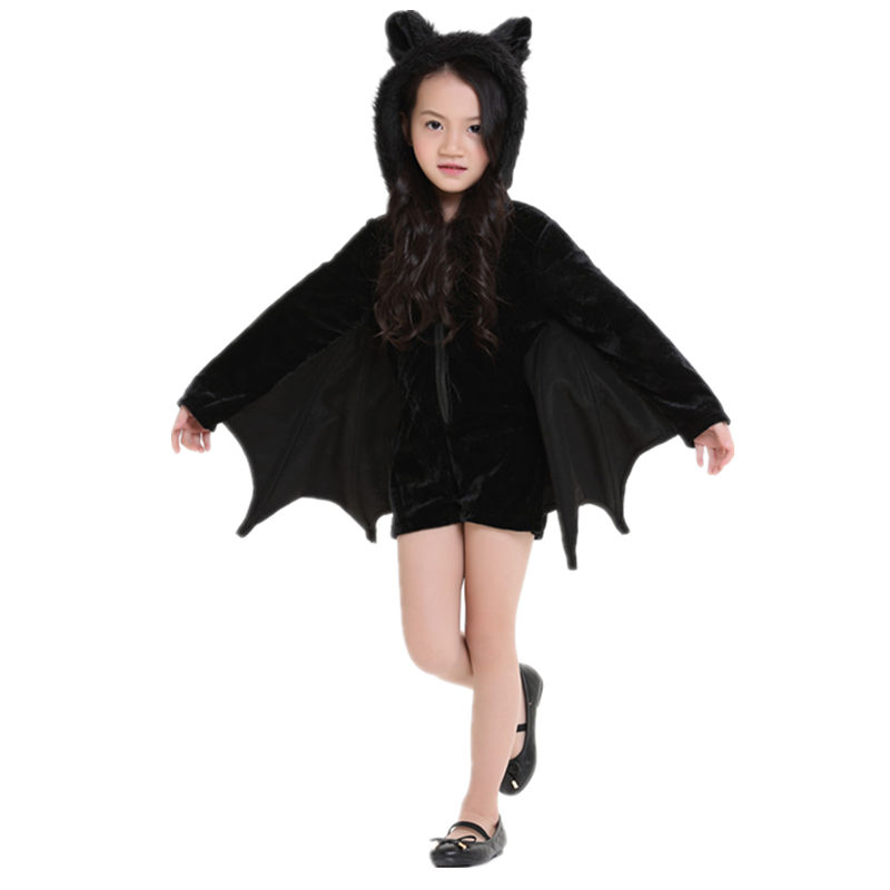 Halloween Cosplay Animal Batman Cute Bat Costume Kids Costume For Girls Black Zipper Jumpsuit Connect Wings Garment