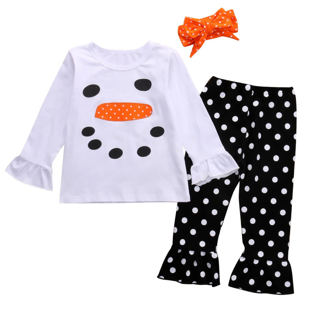 Фото New Baby Girls Clothes Set Autumn Winter Snowman T-shirt+ Ruffle Polka Dot Pants+Hairband 3Pcs Outfits Sets Christmas Suit