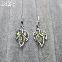 DIZY Natural Green Peridot Leaf Drop Clasp 925 Sterling Silver Gemstone Clip Earring for Women Gift Wedding Engagement Jewelry