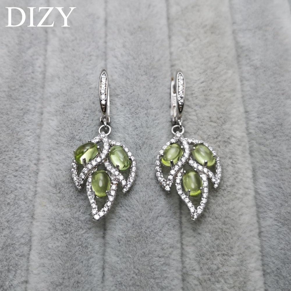 DIZY naturel vert péridot feuille goutte fermoir 925 en argent Sterling pierre gemme Clip boucle d'oreille pour les femmes cadeau de mariage bijoux de fiançailles