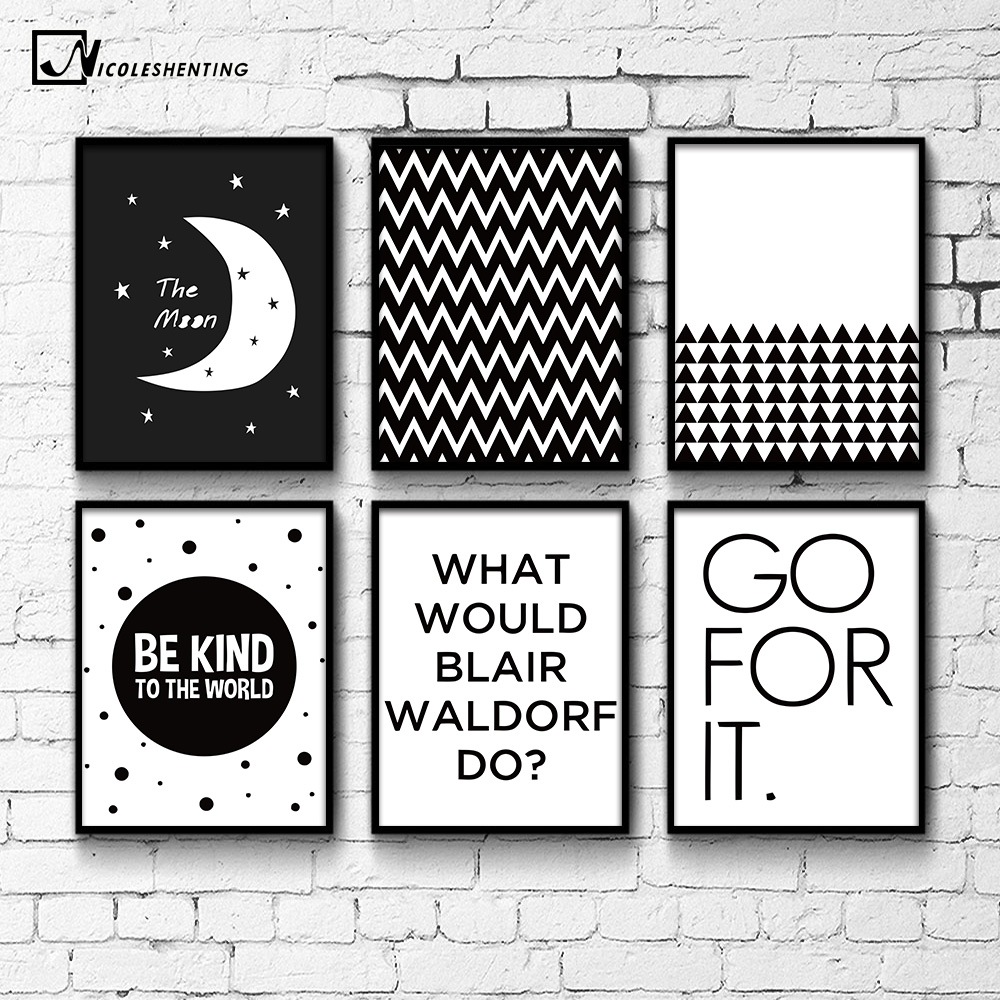 Geometry black white motivational poster canvas prints for Minimalist wall painting