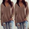 Manera de Las Mujeres Ocasionales Flojas de la Rebeca de Punto Pullover Sweater Jumper Prendas de Punto Outwear Top