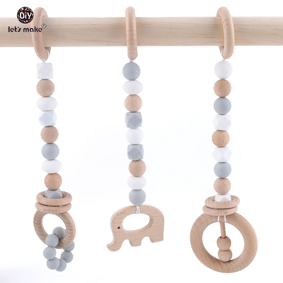 Let's Make Baby Toys Wooden Teether Teething Beech Wood Ring Sensory Baby Gym Toy Chew Silicone Teether Play Gym Baby Rattles