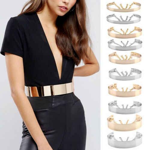ผู้หญิงเต็มรูปแบบโลหะรอบเอวกว้าง Gold Silver Plate เข็มขัดโซ่เข็มขัด