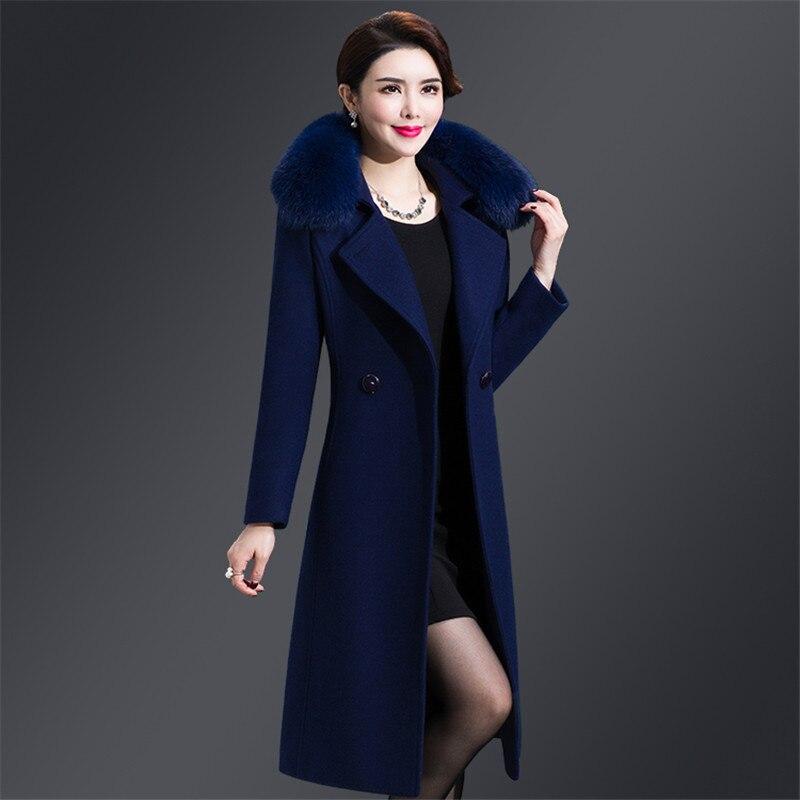 e4f7e30e3 Winter Thicken Wool Coat women Fur collar Warm Winter Long Woolen coat  women Slim Plus size High quality Elegant Overcoat LGP513-in Wool & Blends  from ...
