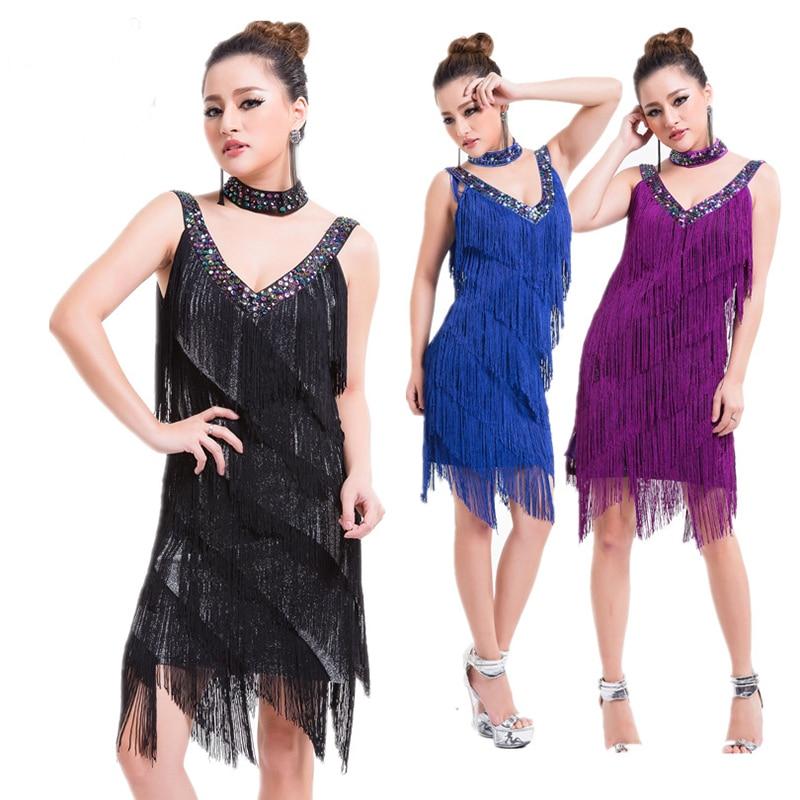 Ladies 1920s Flapper Latin Dress Great Gatsby Party Charleston Fringe Latin Salsa Dance Performance Costume Dress
