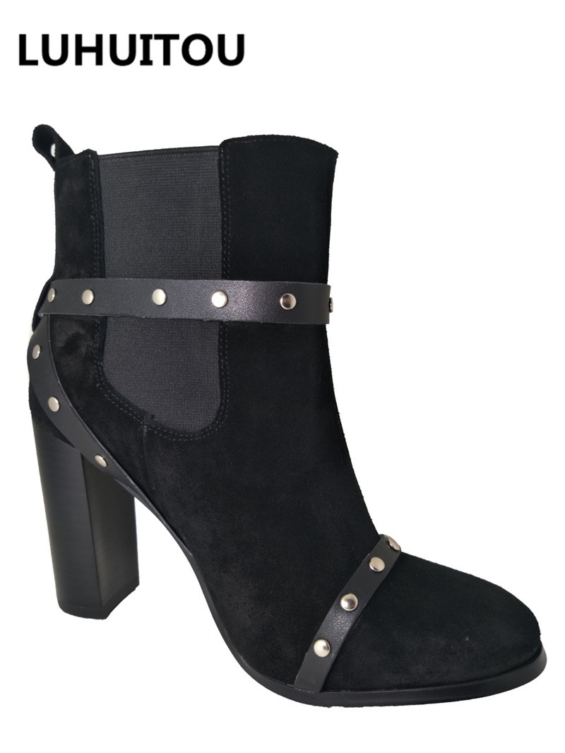 Black Véritable Qualité Casual Chaussures Cowboy Suede Moto Bottes Fringe En Cheville Rivet D'hiver Élastiques Femmes Cuir De twXHxvaqf
