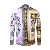 seestern brand new 3D printing Patchwork designer Western style luxury men's fashion dress shirts casual long sleeve cotton
