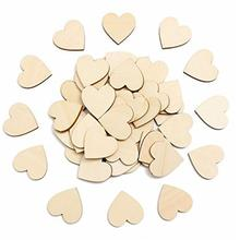 50pcs/lot Heart Shape Wooden Chips Birthday Party Wedding Anniversary Love Decorative Crafts Christmas DIY Handmade Accessories