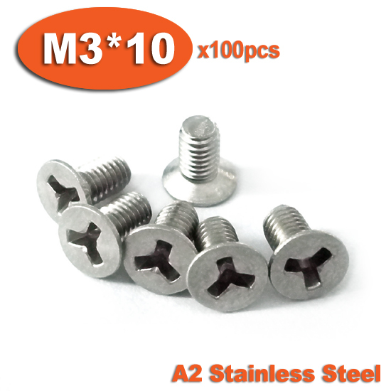100pcs DIN965 M3 x 10 A2 Stainless Steel Y Slot Countersunk Head Tamper Proof Security Screw Screws cctv security explosion proof stainless steel general bracket