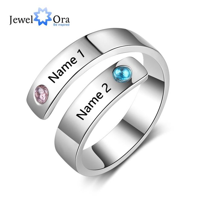 Personalized Gift Birthstone Engraved Names Adjustable Rings For Women Promise L