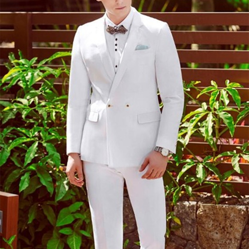 2017 Tailored Double Breasted White Men Suits Elegant Men Tuxedos For Wedding/dinner Party/prom Men Suit Sets jacket+pants+bow Good For Antipyretic And Throat Soother