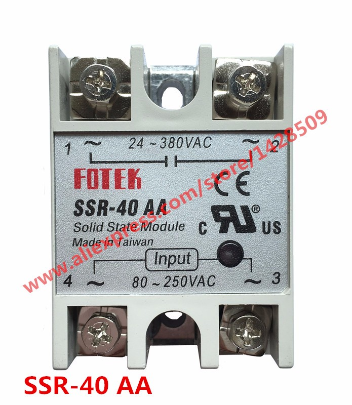 1 Piece Solid State Relay SSR AC Control AC SSR-40 AA 80-250V AC To 24-380V AC High Quality high quality ac ac 80 250v 24 380v 60a 4 screw terminal 1 phase solid state relay w heatsink